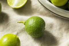 Raw Green Organic Key Limes stock photo