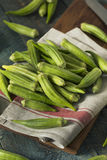 Raw Green Organic Okra Harvest. Ready to Cook With Stock Photo