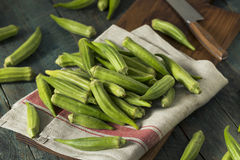 Raw Green Organic Okra Harvest. Ready to Cook With Stock Photos