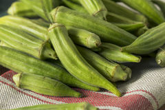 Raw Green Organic Okra Harvest. Ready to Cook With Stock Image