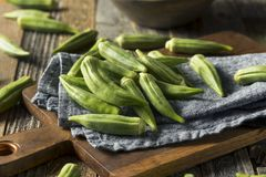 Raw Green Organic Okra Vegetables. Ready to Cook Royalty Free Stock Photo