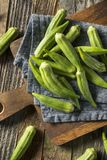 Raw Green Organic Okra Vegetables. Ready to Cook Stock Image