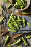Raw Green Organic Okra Vegetables. Ready to Cook Stock Photos