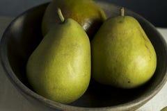 Raw Green Organic Seckel Pears Royalty Free Stock Photos