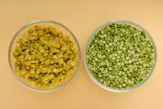 Raw green pea and pea puree stock image