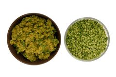Raw green pea and pea puree Royalty Free Stock Photography
