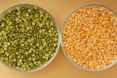 Green pea and yellow pea, split peas. Raw green pea and yellow pea, split peas Stock Photo