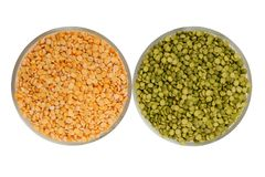 Raw green pea and yellow pea royalty free stock photos