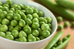 Raw Green Peas. Fresh raw green pea (lat. Pisum Sativum) in white bowl (Selective Focus, Focus on the peas in the middle of the bowl Royalty Free Stock Photography