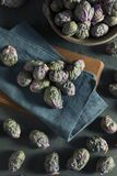 Raw Green and Purple Brussel Sprouts Royalty Free Stock Images