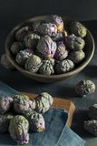 Raw Green and Purple Brussel Sprouts Royalty Free Stock Image