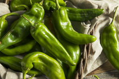 Raw Green Spicy Hatch Peppers stock photo