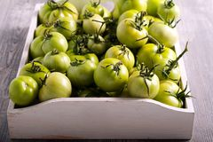Raw green tomatoes in wooden box. Selective focus Royalty Free Stock Photography