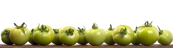 Raw green tomatoes. Green tomatoes on a wooden shelf with a white background Royalty Free Stock Photography