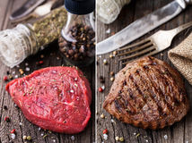 Raw and grilled beefsteak on a wooden board Stock Image