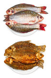 Raw and grilled fish. On plate, isolated on white background Stock Images