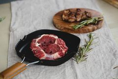 Raw and grilled steak Royalty Free Stock Photos