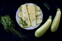 Raw grilled zucchini Stock Photography
