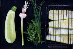 Raw grilled zucchini Royalty Free Stock Image