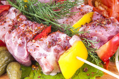 Raw  grilling shashlik delicious beef kebab. With vegetables Royalty Free Stock Images