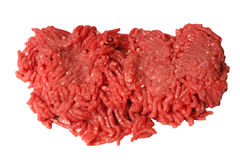 Raw ground beef. On a white background Royalty Free Stock Images