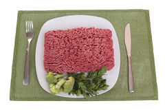Raw ground beef. Isolated on white Royalty Free Stock Images