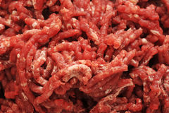 Raw ground beef. background from minced meat close-up. View from above Royalty Free Stock Images