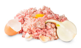 Raw Ground Beef With Egg And Garlic And Onions Stock Image