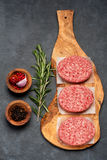 Raw Ground Beef Meat Burger cutlets. Top view. Raw Ground Beef Meat Burger cutlets on black background. Top view Royalty Free Stock Photography