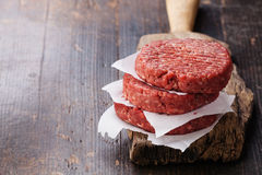 Raw Ground beef meat Burger steak cutlets. On dark wooden background Stock Photos