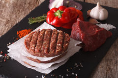 Raw Ground beef meat Burger steak cutlets. Horizontal closeup Royalty Free Stock Image