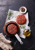 Raw Ground beef meat Burger steak cutlets Stock Image
