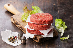 Raw Ground beef meat Burger steak cutlets Royalty Free Stock Image