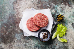 Raw Ground beef meat Burger steak cutlets Stock Images