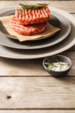 Raw Ground beef meat Burger steak cutlets. On  wooden background Stock Photo