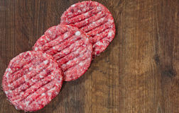 Raw Ground beef meat Burger steak on wooden table with copy space. top view. Raw Ground beef meat Burger steak cutlets on wooden table with copy space. top view Stock Images