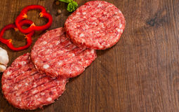 Raw Ground beef meat Burger steak on wooden table with copy space. top view. Raw Ground beef meat Burger steak cutlets on wooden table with copy space. top view Stock Photography