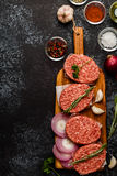 Raw ground beef meat steak cutlets with herbs and spices. Raw ground beef meat steak cutlets with herbs and spices on dsrk background Stock Photography