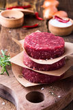 Raw ground beef, round patties for making burgers. Organic raw ground beef, round patties for making homemade burger on wooden cutting board Stock Photo
