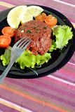 Raw ground beef with vegetables Royalty Free Stock Images