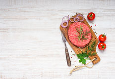 Raw Ground Burger Meat with Vegetables and Copy Space Stock Photos