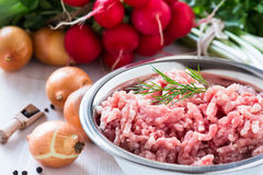 Raw ground meat. In white bowl. Minced pork on a background of fresh organic vegetables Royalty Free Stock Photos