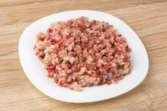 Raw ground meat on a white plate. Minced meat from pork and chicken on a plate Stock Photos