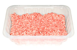Raw Ground Pork. Meat in a transparent plastic tray. Isolated on white Royalty Free Stock Photography