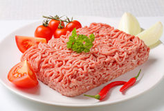 Raw ground pork and vegetables Royalty Free Stock Photography