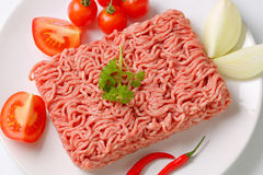 Raw ground pork and vegetables Royalty Free Stock Image