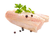 Raw Hake fish fillet pieces. Stock Images