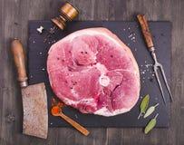 Raw ham cut above Royalty Free Stock Photos