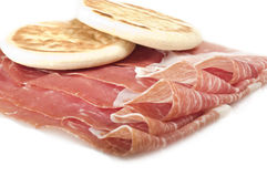 Raw ham leg sliced Royalty Free Stock Photo