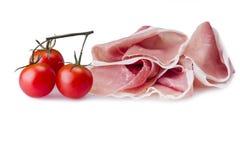Raw ham leg sliced Royalty Free Stock Images